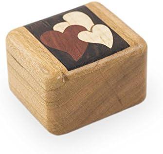 Cherry de madera caja de recuerdos – tesoros de la corazón marrón madera -: Amazon.es: Hogar