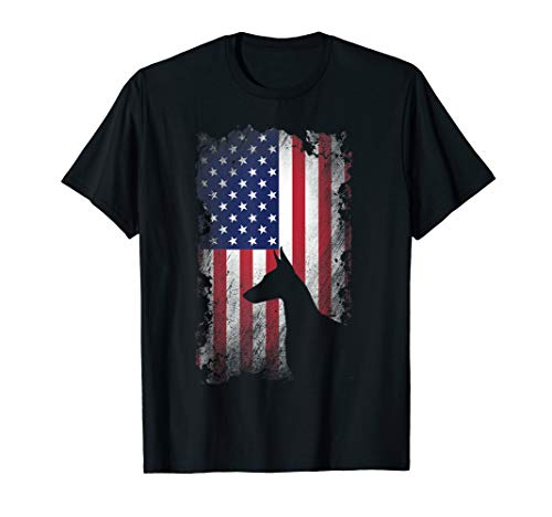Doberman Pinscher American Flag Shirt USA Patriotic Dog