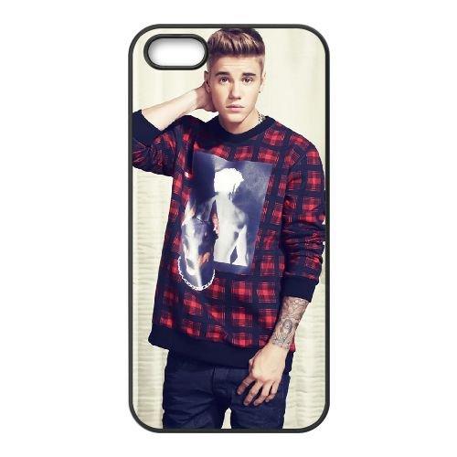 Justin Bieber 003 coque iPhone 5 5S cellulaire cas coque de téléphone cas téléphone cellulaire noir couvercle EOKXLLNCD25004