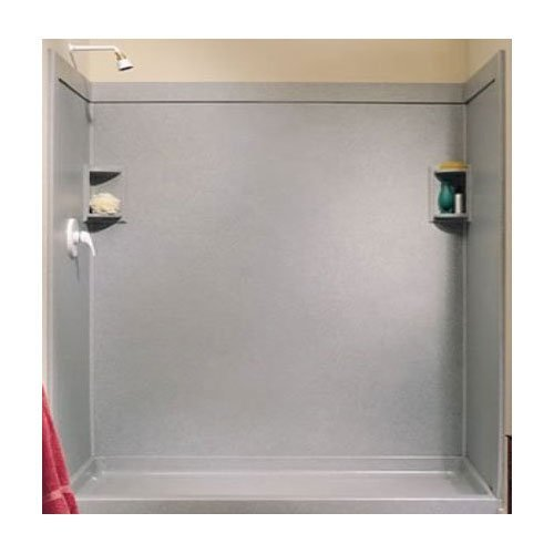 Shower Wall Kit - Swanstone SS0369602.011 Solid Surface Glue-Up 2-pieces Shower Wall Panel, 0.25-in L X 36-in H X 96-in H, Tahiti White