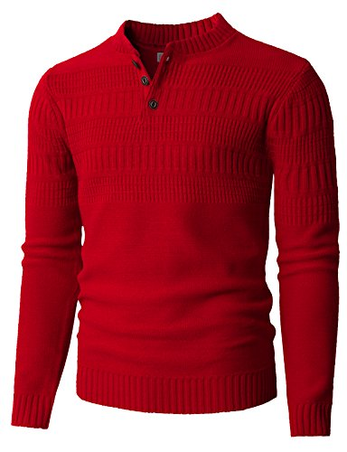 H2H Men's Space-Dye Henley Sweater in Multiple Colors RED US S/Asia M (KMOSWL0127)