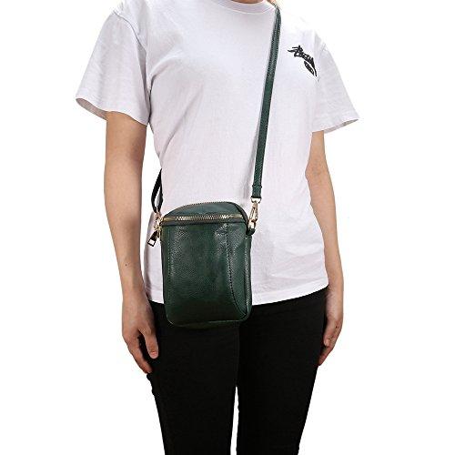 Green PU Pocket Handbag Crossbody Bag Dark Purse Multi Leather Functional qBCfw