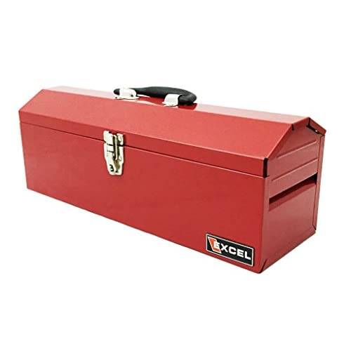 85%OFF Excel TB101-Red 19-Inch Portable Steel Tool Box, Red