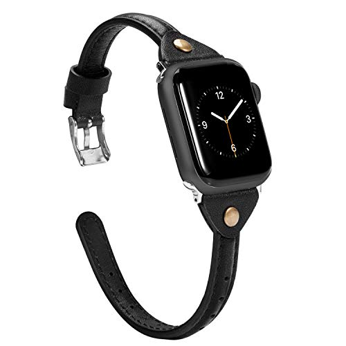Wearlizer Black Thin Leather Compatible with Apple Watch Band 38mm 40mm for iWatch SE Womens Men Slim Simple Strap Leisure Rivet Cute Narrow Stylish Wristband (Metal Silver Buckle) Series 6 5 4 3 2 1