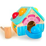 rolimate Pounding Wooden Toy House with Toy Hammer, Unique Design for Pounding Bench Wooden Toys, Kid Toys for Toddlers, Wood Toys, Toddler Toys