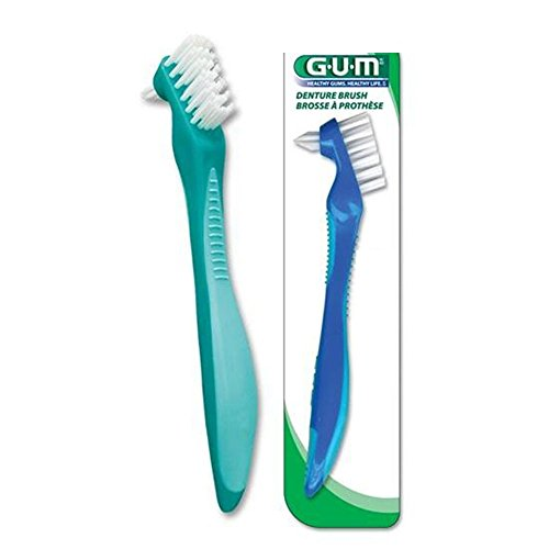 Butler GUM Denture Brush Each - BLUE OR GREEN - 6 Pack