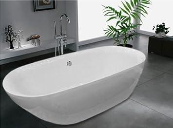 Freistehende Badewanne ROMA ACRYL weiß 180x84 inkl. Armatur BS-916 ...