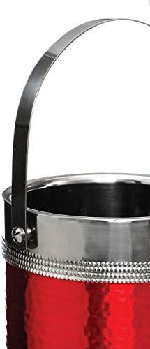 Premier Housewares 0507785 Ice Eimer und Zange mit Hammered, Edelstahl, schwarz Band