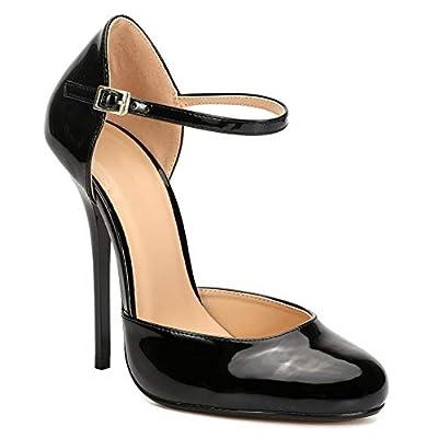 MAIERNISI JESSI Unisex Men's Women's Round Toe Ankle Buckle D-Orsay Stiletto High Heel Pumps | Shoes