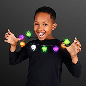 LED Light Up Halloween Zombie Skull Necklaces (Party Favor Set of 12)