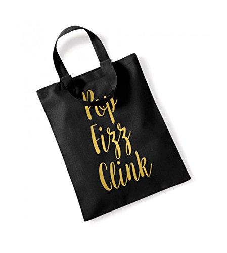 Pop, Fizz, Clink - Small Canvas Fun Slogan Tote Bag Black/Gold