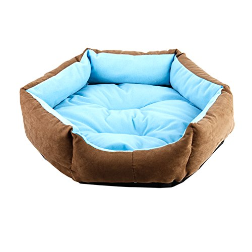 WuKong Hexagonal Pet Bed Cat Nest for Small Dog Pet Nest Cushions Removable Washable Dog House (XS: Outside diameter: 13.6''x11.7'', Blue) by Wukong