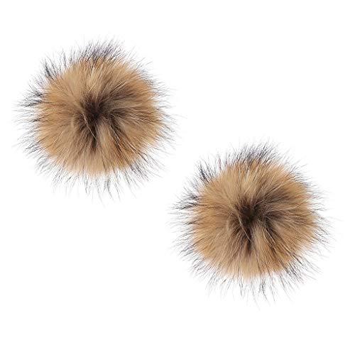 NATFUR Faux Raccoon Fur Pompom Bag Phone Charm Keychain Accessories Pom Pom Elegant for Women Cute for Men Holder for Gift Elegant Novelty Great Lovely | Size - 10cm