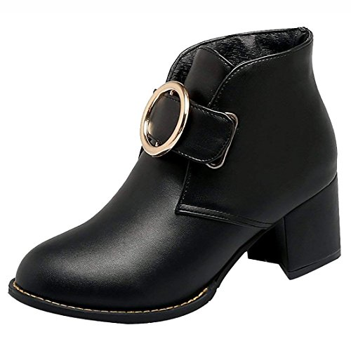 Artfaerie Women's Chunky Heel Ankle Boots Buckle Booties Faux Fur Warm Winter Shoes(US 9, Black)
