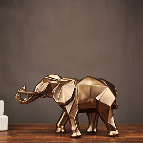 PANRODO Elephant Sculpture Figurines Resin Crafts Retro Decoration for Living Room Geometric Statues (Elephant Sculpture Resin)