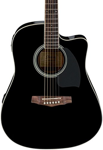 (Ibanez PF Series PF15ECE Dreadnought Cutaway Acoustic-Electric Cutaway Guitar Gloss Black)