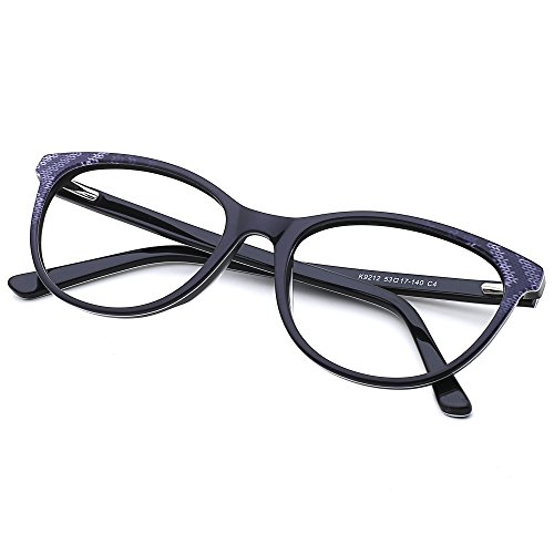 Slocyclub Cateye Eyeglasses Thin Plate Frame Non-prescription Clear Lens Unisex