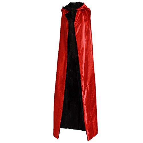 [Halloween Black Red Cosplay Costume Theater Prop Death Hoody Cloak Devil Mantle AB Wear Long Tippet Adult Hooded Cape] (Chance Of Rain Costume)