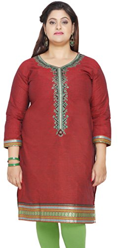 Womens-Cotton-Embroidered-Long-Plus-Size-Indian-Kurtis-Tunic-Top