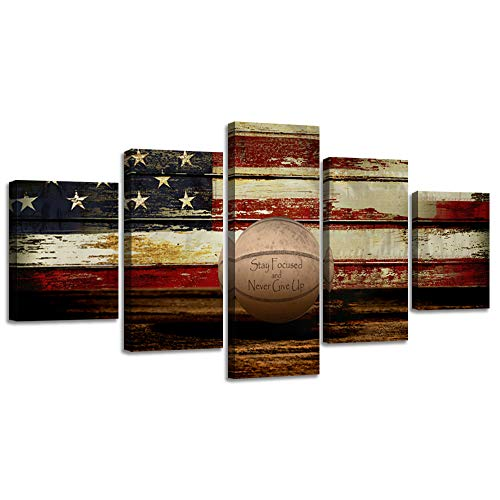 (Vintage Basketball Canvas Wall Art US USA American Flag Prints Sports Artwork Wall Decor Home Picture for Bedroom Living Room Flag Thin Red Line Paintings Posters Framed Ready to Hang (50