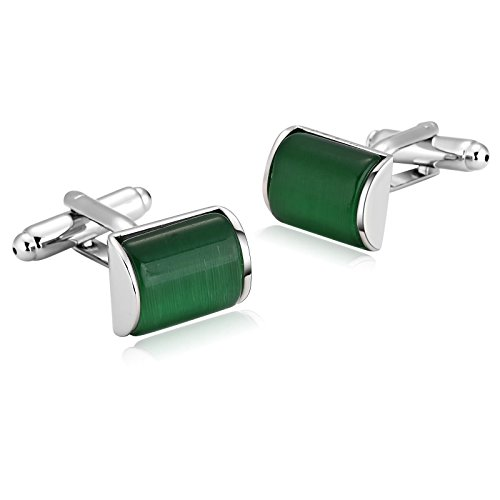 MoAndy Stainless Steel Cufflinks Silver Green Classical Crystal Camber Rectangle Shirt Studs for Mens