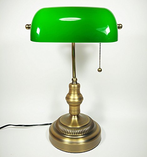 Bankers Lamp, Brass Base, Handmade Green Glass Shade, Antique Style Desk Lamps for Office, Library, Study Room (Brass) - Antique Green Table Lamp