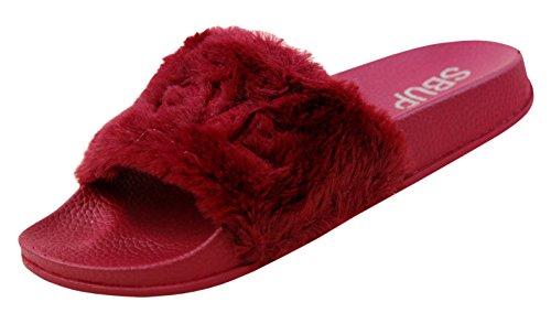 LOVE 118 Fur Slippers Slides Low Womens Flip Flop Faux Fur Soft Flat Sandals Marron m02Uag7