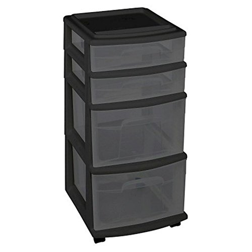 Homz Plastic 4 Drawer Medium Cart, Black Frame with Smoke Tint Drawers, Casters, Set of (Drawer Set)