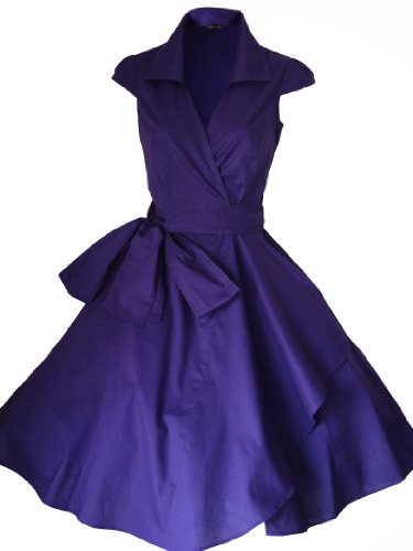 Größen Jahre Kleid Party EU 34 50er STARS Vintage Cocktailkleid Sommerkleid FOR 52 Stil LOOK Rockabilly THE Abend Purple Cadbury Retro qz6ffSw