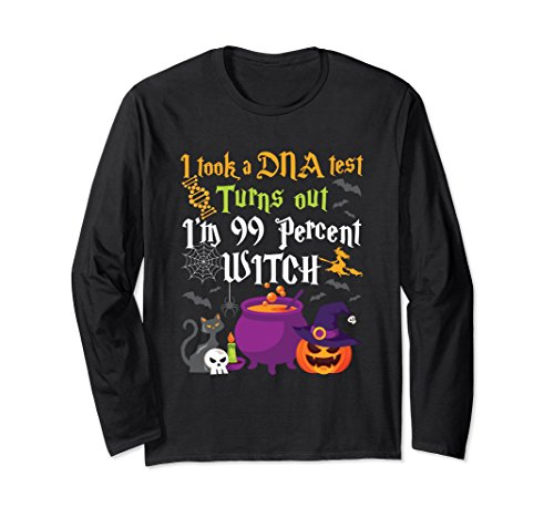 Funny Witch Long Sleeve Shirt Halloween DNA Test 99 -