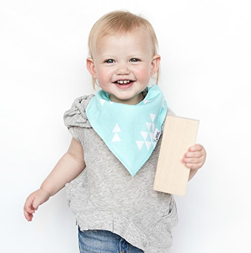 Baby Bandana Bib Set of 4, Super Absorbent Organic Drool & Teething Bibs for Boys & Girls by Matimati (Mint & Gray) by Matimati Baby (Image #3)