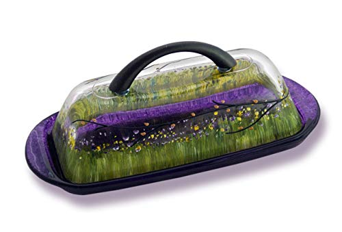- Sand and Water Creations Hand Painted Butter Dish with Handle and Lid Purple