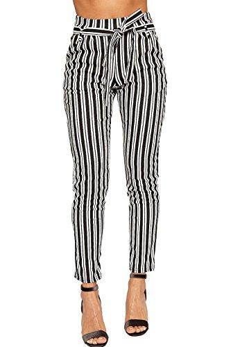 WearAll Women's Monochrome Striped Belted Pocket Crepe Skinny Leg Trousers - Black White - US 2 (UK 6)