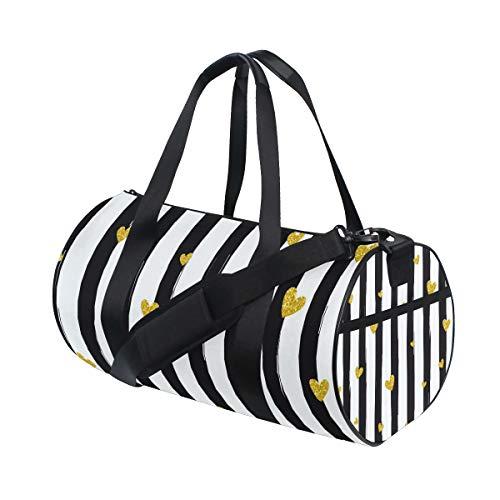 Barrel Duffel Bag Gold Glittering Heart Black White Stripes Sports Gym Travel Bag