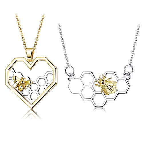 ORAZIO 2PCS Stainless Steel Beehive Bee Hive Honey Bee Necklace Hexagon Honeycomb Heart Pendant Necklace ()