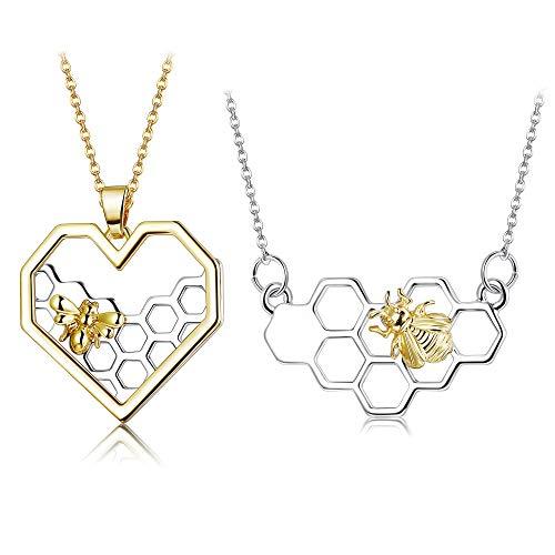 Bee Necklace - ORAZIO 2PCS Stainless Steel Beehive Bee Hive Honey Bee Necklace Hexagon Honeycomb Heart Pendant Necklace