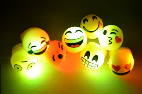 Light Up Mardi Gras Throws (Pack of 48 Flashing Panda Jelly Emoji LED Light-UP Flashing Rings - 6 Styles, Multi-Color)