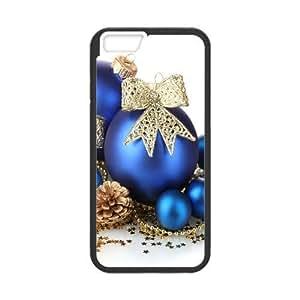 iPhone 6 Plus 5.5 pulgadas del teléfono Funda Case Cubierta negra Juguetes de Navidad, Azul, Balones, Estrella, Cono, Decoración X1N1BN plástico Moda teléfono cubierta de la caja Funda