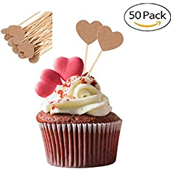 Elegantday Rustic Vintage Kraft Paper Love Heart Cupcake Picks Cake Toppers Food Flags Canape Sticks Wedding Bridal Shower Party DIY Decoration 50PCS
