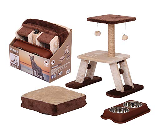 PetPals PP17191 Kitty Cat Tree Starter Kit, One Size, Brown