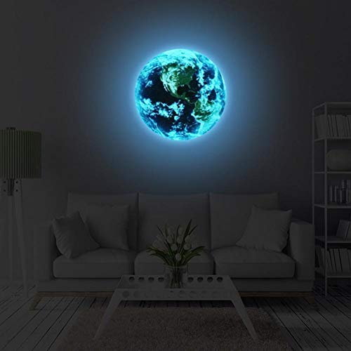 ILOKY New 3D Luminous Earth Pattern Self-Adhesive wall decor DIY Removable Wall Stickers glow in dark kids room wall decor Bedroom Home wall Decor Living Room Wall Stickers for Office,Blue Light Color
