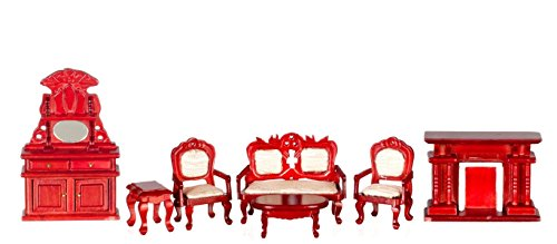 Town Square Miniatures White Mahogany Living Room Set - 7 Piece from Town Square Miniatures