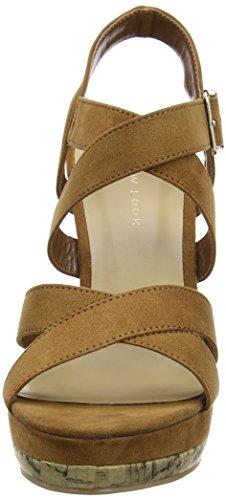 New Look Oyster, Sandalias con Cuña Beige (Tan)