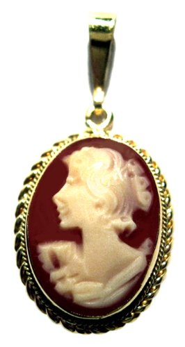 Cameo Pendant Italian 18k Yellow Gold Master Carved Carnelian Shell
