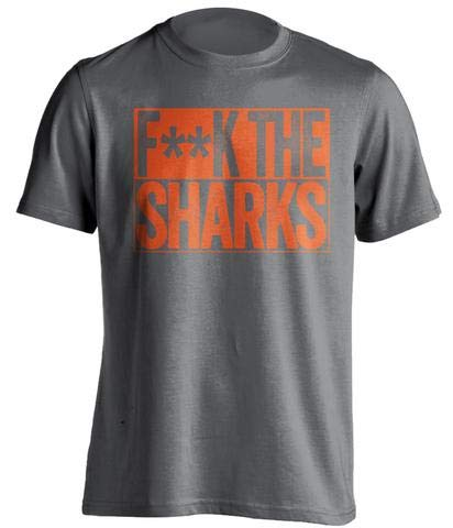(Fuck The Sharks - Haters Gonna Hate Shirt Old Gold and Orange Versions - Box Design - Grey - Censored - Large)