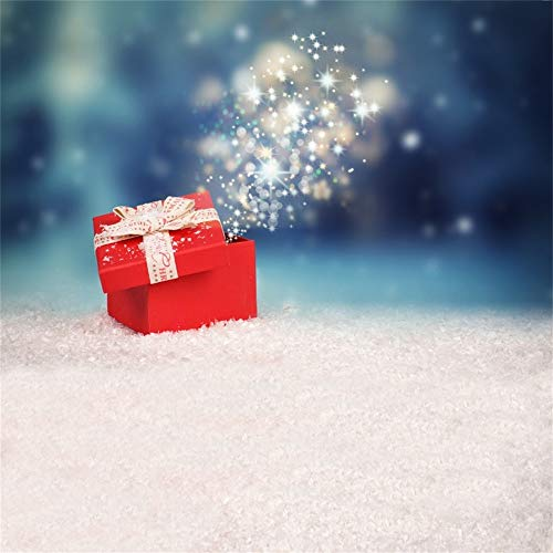 Laeacco Christmas Theme Backdrop Vinyl 8x8ft Magical Lucky Xmas Gift Elvish Red Box Bokeh Scenic White Snow Photography Background Xmas Party Banner Child Kids Baby Portrait Shoot ()