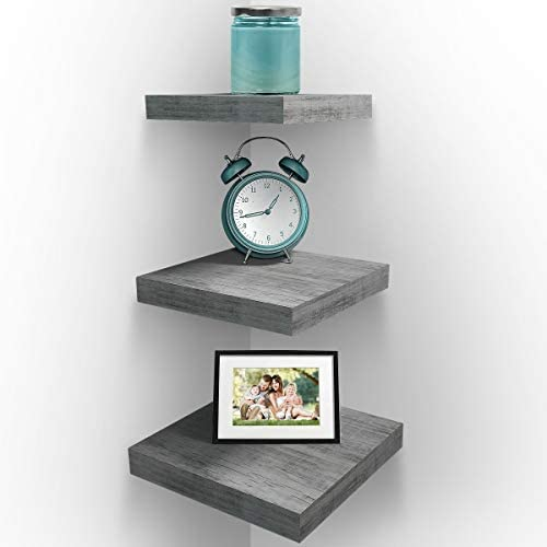 Sorbus Wall Mount Corner Shelves, Square Hanging Wall Shelves Decoration, Perfect Trophy Display, Photo Frames, Home D cor, Set of 3 Grey White