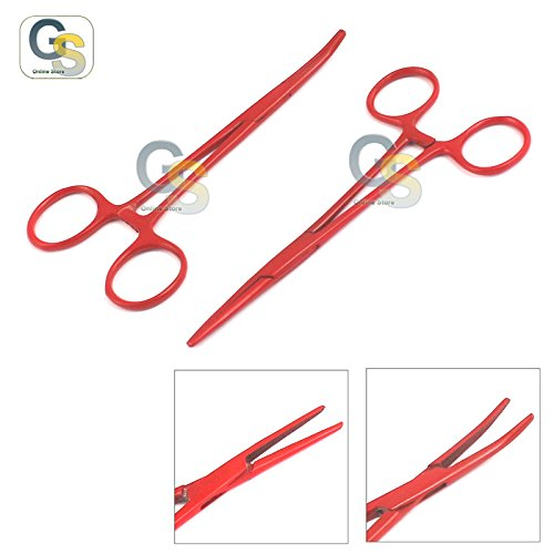G.S Lot of 2 Pcs Straight & Curved Crile Hemostat Forceps Locking Clamps 5.5'' Red Color Stainless Steel Best Quality by G.S ONLINE STORE (Image #3)