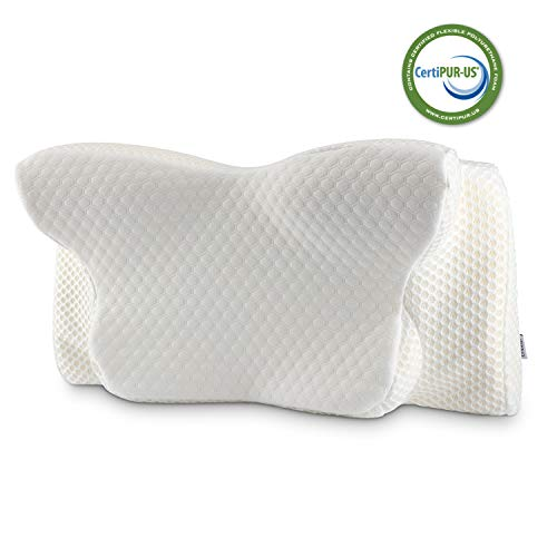Cervical Pillow Contour Pillow for Neck and Shoulder Pain, Coisum Orthopedic Memory Foam Pillow Ergonomic Bed Pillow for Side Sleepers Back Sleepers, Neck Support Pillow Made of CertiPUR-US Foam ()