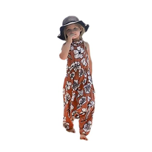 ♡♡Nation Kids Infant Baby Girl Floral Print Jumpsuit Harem Pants Romper Outfits Clothes (4T, Brown) (Months Romper Outfit)